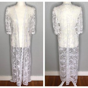 Vintage 60s Miss Elaine White Lace Robe Duster